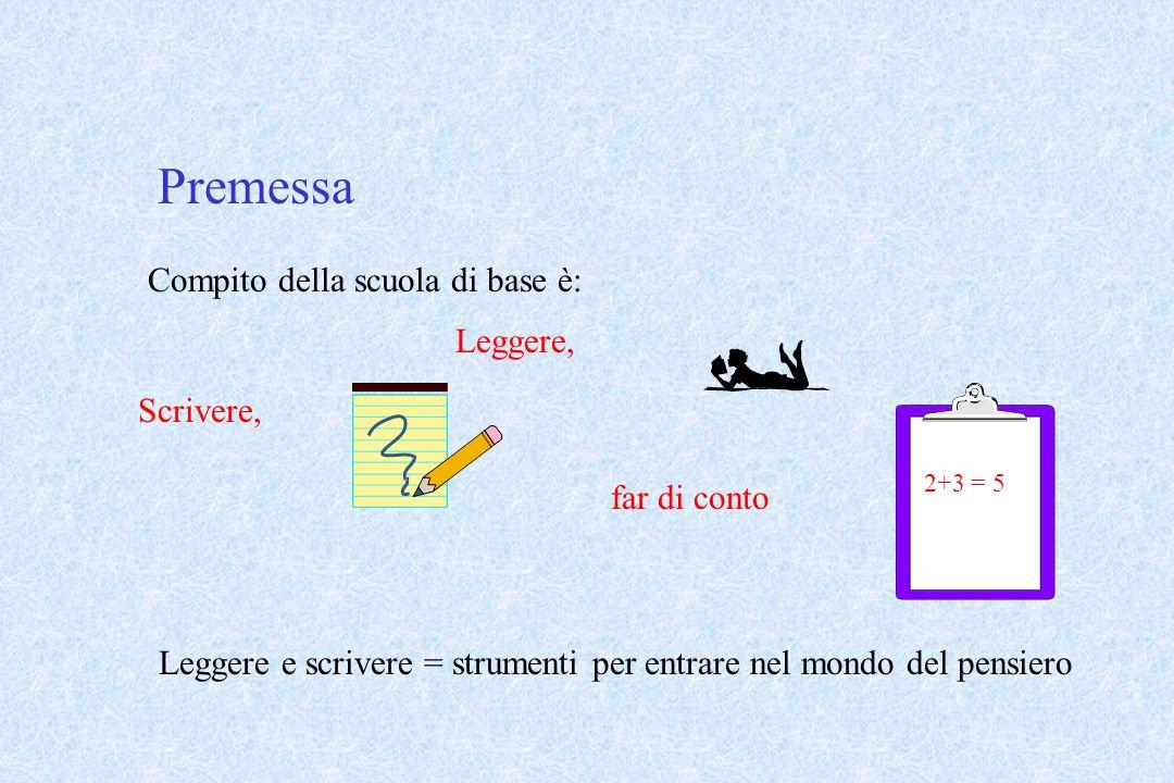 Premessa Compito della scuola di base è: Leggere, 2+3 = 5 Scrivere, far di conto Leggere e scrivere = strumenti per entrare nel mondo del pensiero