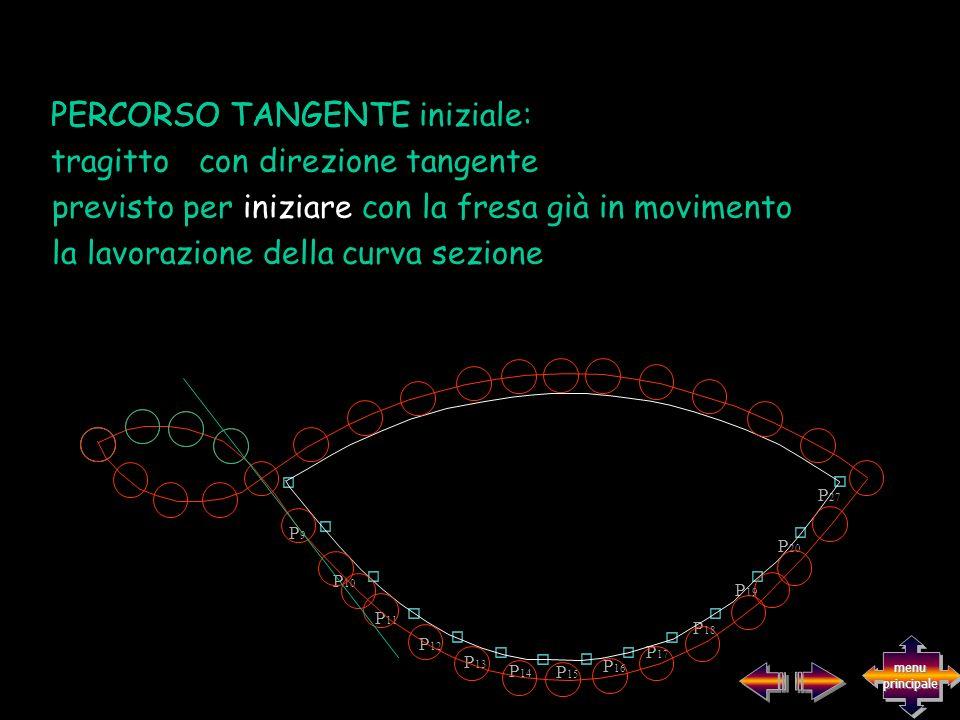previsto per iniziare con la fresa già in movimento la lavorazione della curva sezione PERCORSO TANGENTE iniziale:PERCORSO TANGENTE tragitto con direz