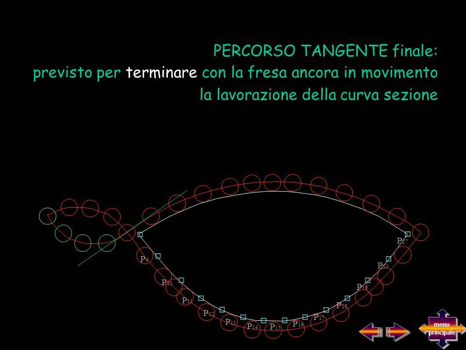 previsto per terminare con la fresa ancora in movimento la lavorazione della curva sezione PERCORSO TANGENTE finale: P9P9 P 10 P 11 P 12 P 13 P 14 P 1