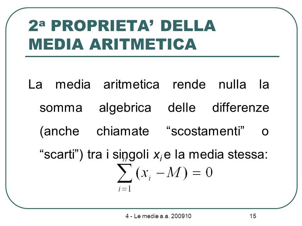 4 - Le medie a.a. 200910 15 2 a PROPRIETA DELLA MEDIA ARITMETICA La media aritmetica rende nulla la somma algebrica delle differenze (anche chiamate s