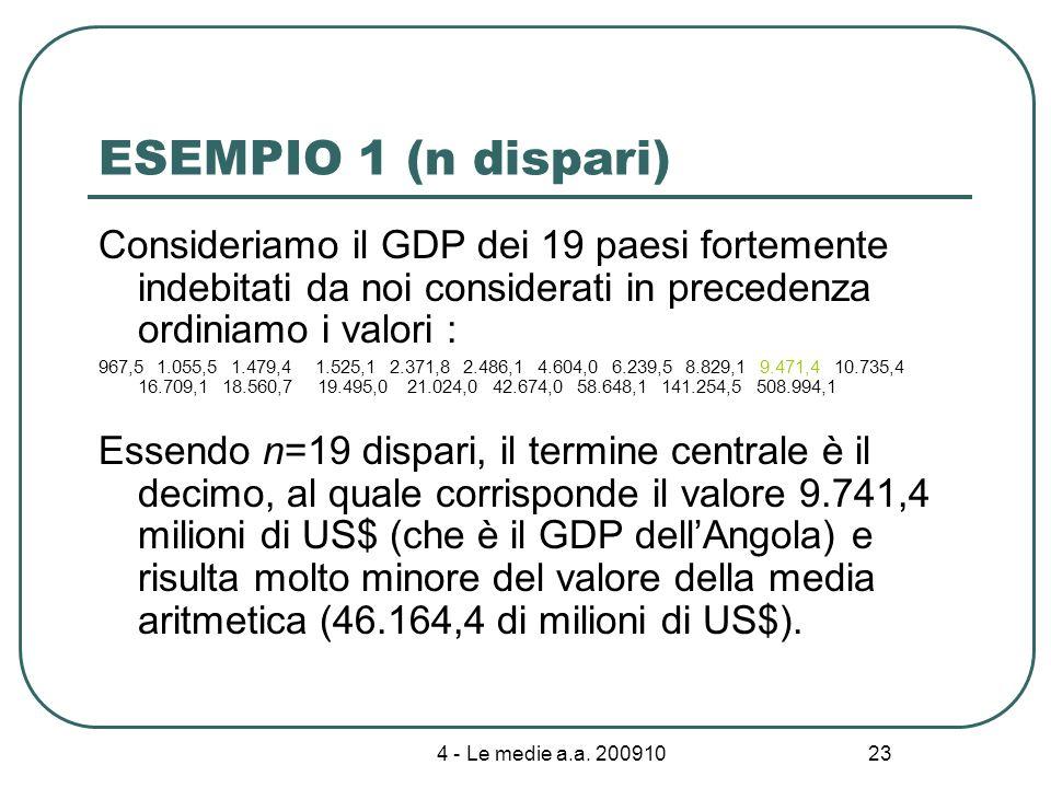 4 - Le medie a.a. 200910 23 ESEMPIO 1 (n dispari) Consideriamo il GDP dei 19 paesi fortemente indebitati da noi considerati in precedenza ordiniamo i