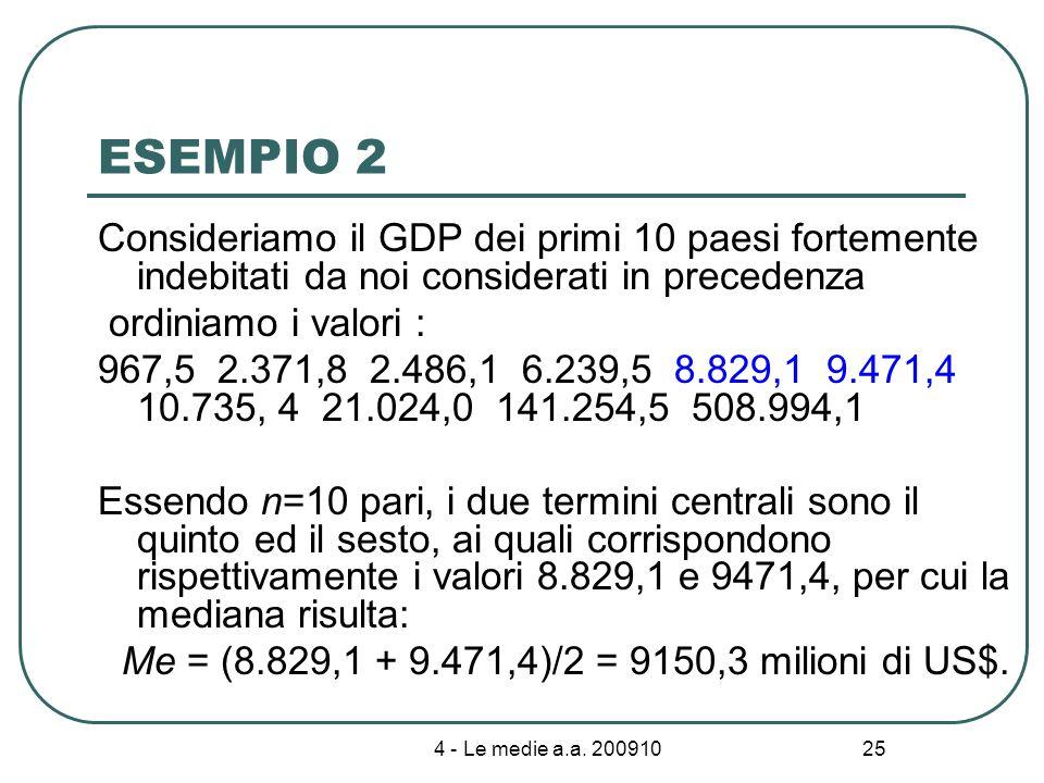 4 - Le medie a.a. 200910 25 ESEMPIO 2 Consideriamo il GDP dei primi 10 paesi fortemente indebitati da noi considerati in precedenza ordiniamo i valori