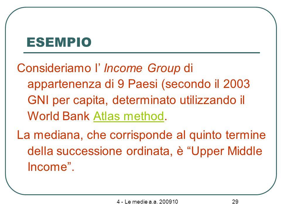 4 - Le medie a.a. 200910 29 ESEMPIO Consideriamo l Income Group di appartenenza di 9 Paesi (secondo il 2003 GNI per capita, determinato utilizzando il