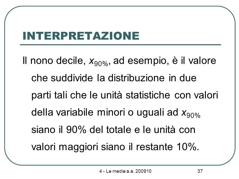 4 - Le medie a.a. 200910 37 INTERPRETAZIONE Il nono decile, x 90%, ad esempio, è il valore che suddivide la distribuzione in due parti tali che le uni