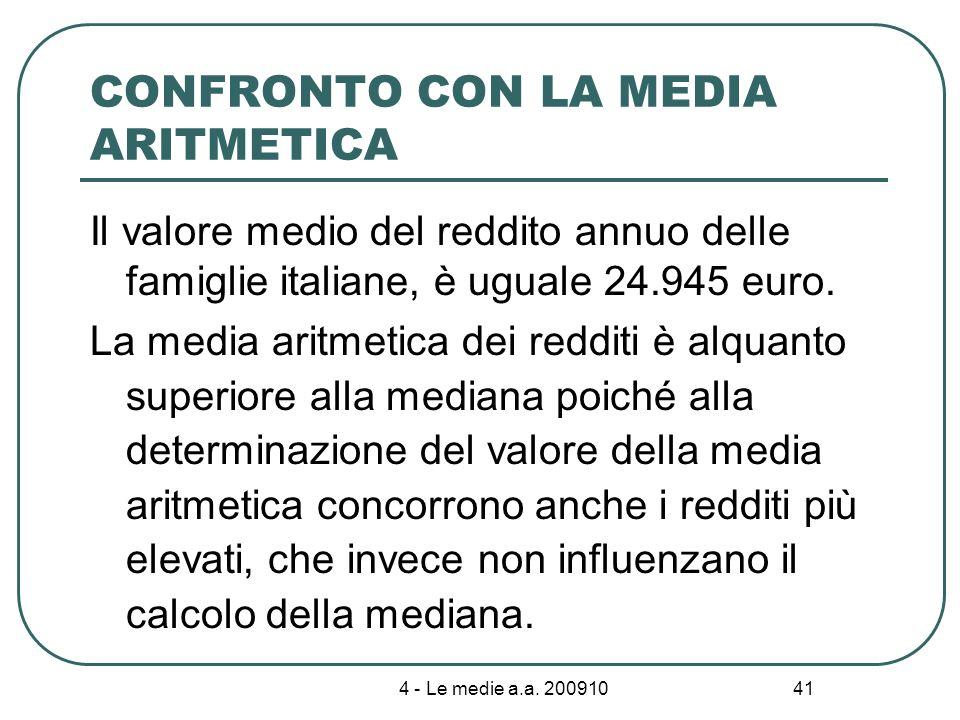 4 - Le medie a.a. 200910 41 CONFRONTO CON LA MEDIA ARITMETICA Il valore medio del reddito annuo delle famiglie italiane, è uguale 24.945 euro. La medi