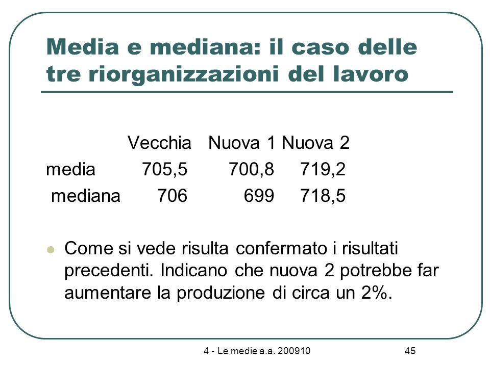 4 - Le medie a.a. 200910 45 Media e mediana: il caso delle tre riorganizzazioni del lavoro Vecchia Nuova 1 Nuova 2 media 705,5 700,8 719,2 mediana 706