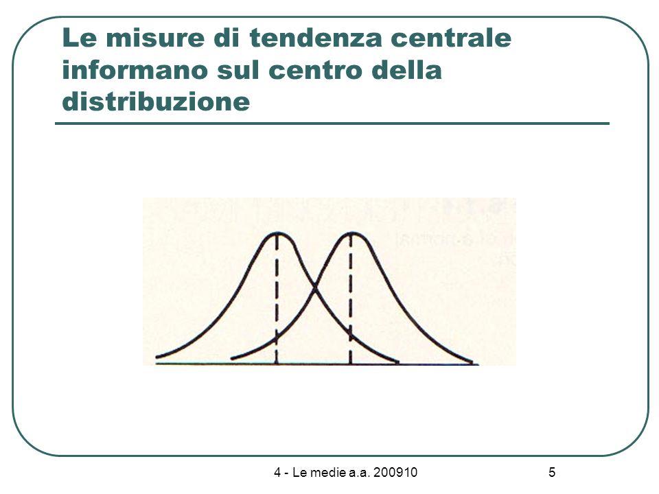4 - Le medie a.a. 200910 5 Le misure di tendenza centrale informano sul centro della distribuzione