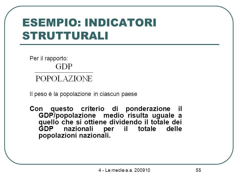 4 - Le medie a.a. 200910 55 ESEMPIO: INDICATORI STRUTTURALI Per il rapporto: Il peso è la popolazione in ciascun paese Con questo criterio di ponderaz