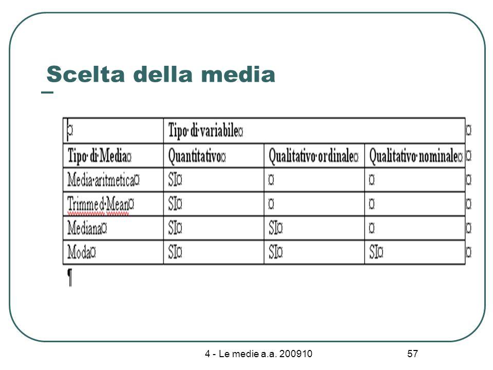 4 - Le medie a.a. 200910 57 Scelta della media