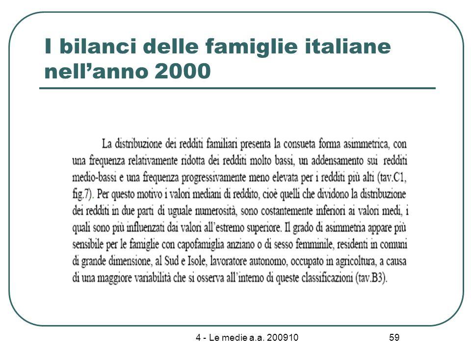 4 - Le medie a.a. 200910 59 I bilanci delle famiglie italiane nellanno 2000