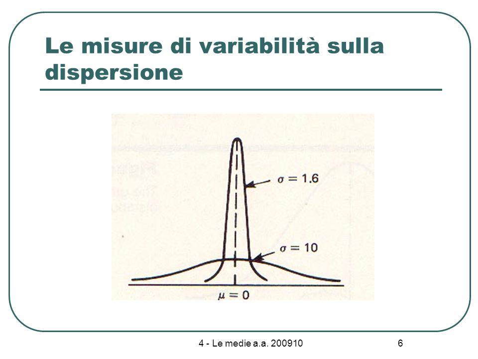 4 - Le medie a.a. 200910 17 Proprietà della media aritmetica: Trasformazione lineare: Y = a + bX