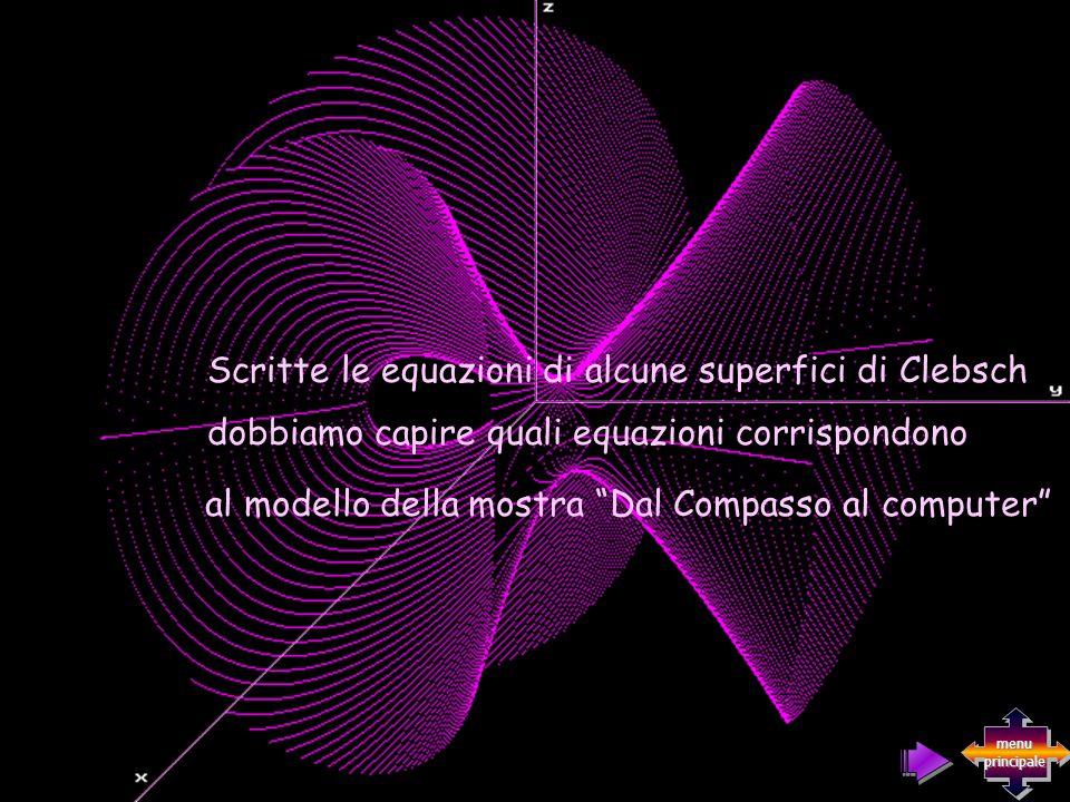 Scritte le equazioni di alcune superfici di Clebsch al modello della mostra Dal Compasso al computer dobbiamo capire quali equazioni corrispondono men