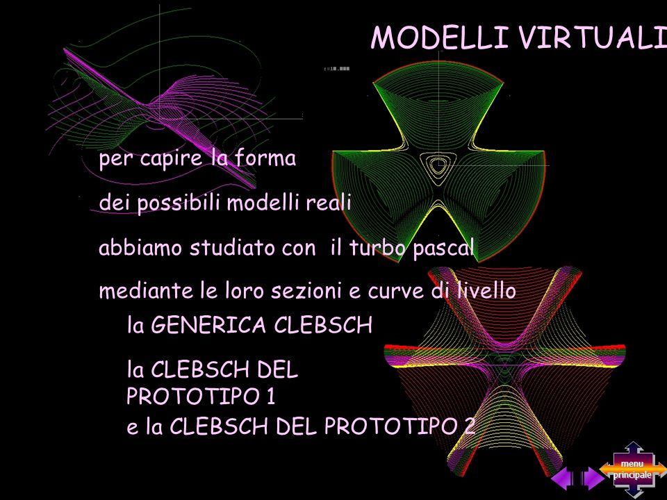 la GENERICA CLEBSCH la CLEBSCH DEL PROTOTIPO 1 e la CLEBSCH DEL PROTOTIPO 2 abbiamo studiato con il turbo pascal mediante le loro sezioni e curve di livello MODELLI VIRTUALI per capire la forma dei possibili modelli reali menu principale menu principale