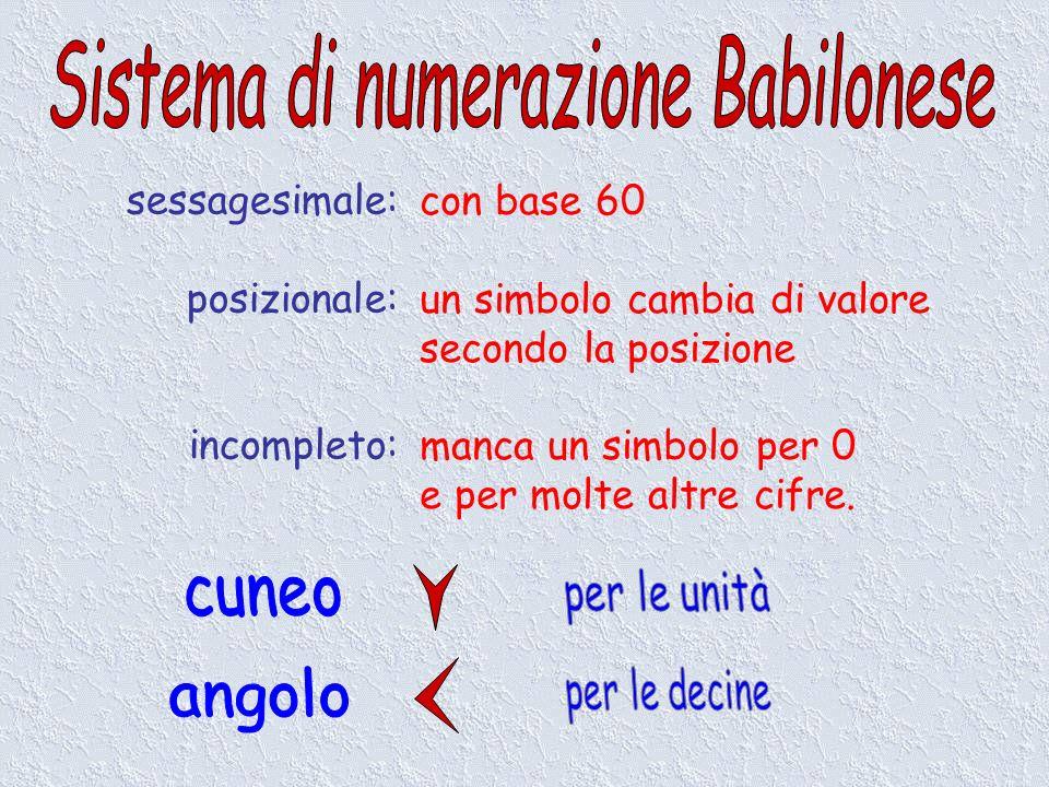 sessagesimale: posizionale: incompleto: con base 60 un simbolo cambia di valore secondo la posizione manca un simbolo per 0 e per molte altre cifre.