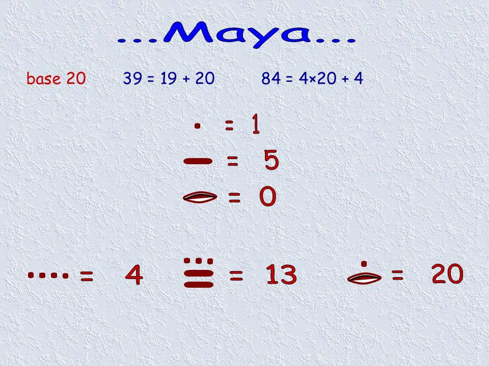 base 2039 = 19 + 20 84 = 4×20 + 4