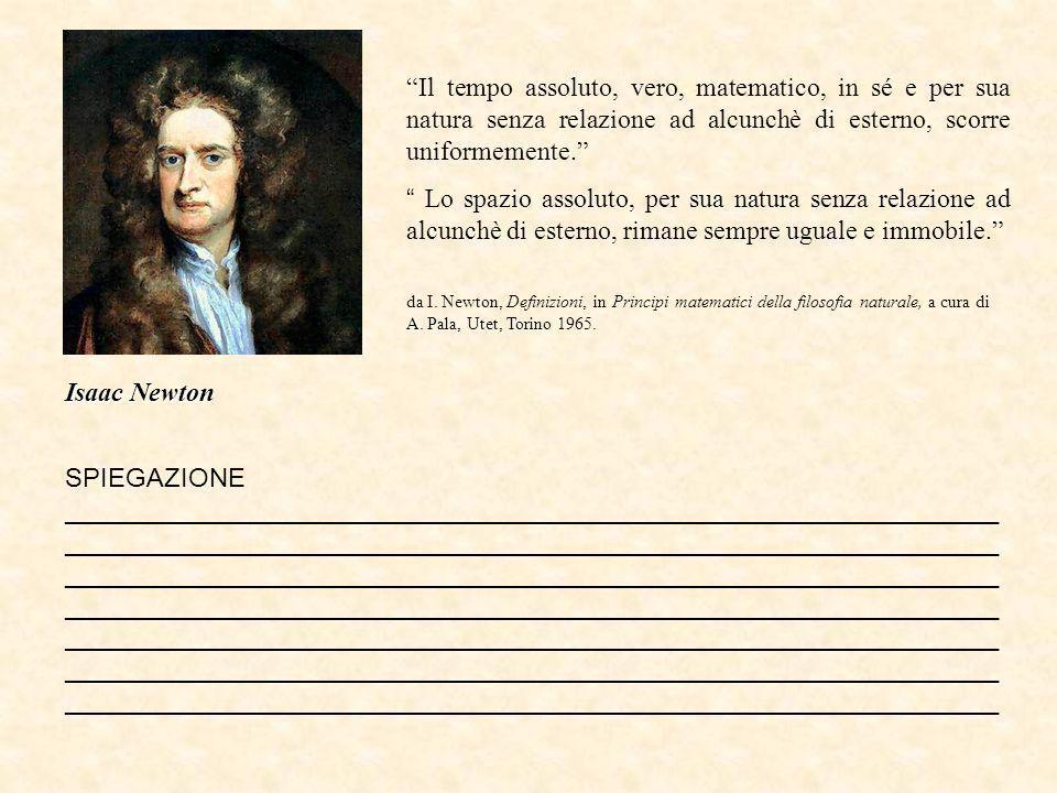 Isaac Newton Il tempo assoluto, vero, matematico, in sé e per sua natura senza relazione ad alcunchè di esterno, scorre uniformemente.