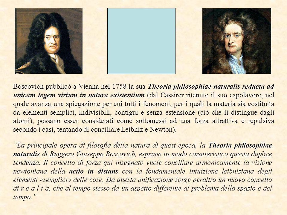 Boscovich pubblicò a Vienna nel 1758 la sua Theoria philosophiae naturalis reducta ad unicam legem virium in natura existentium (dal Cassirer ritenuto
