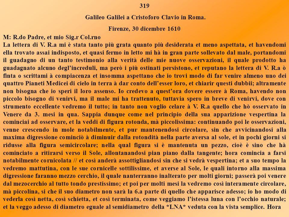 LETTERA 319 In questa lettera Galileo Galilei scrive di quanto gli è stata grata la lettera, con la quale Clavio gli aveva comunicato che agli osserva