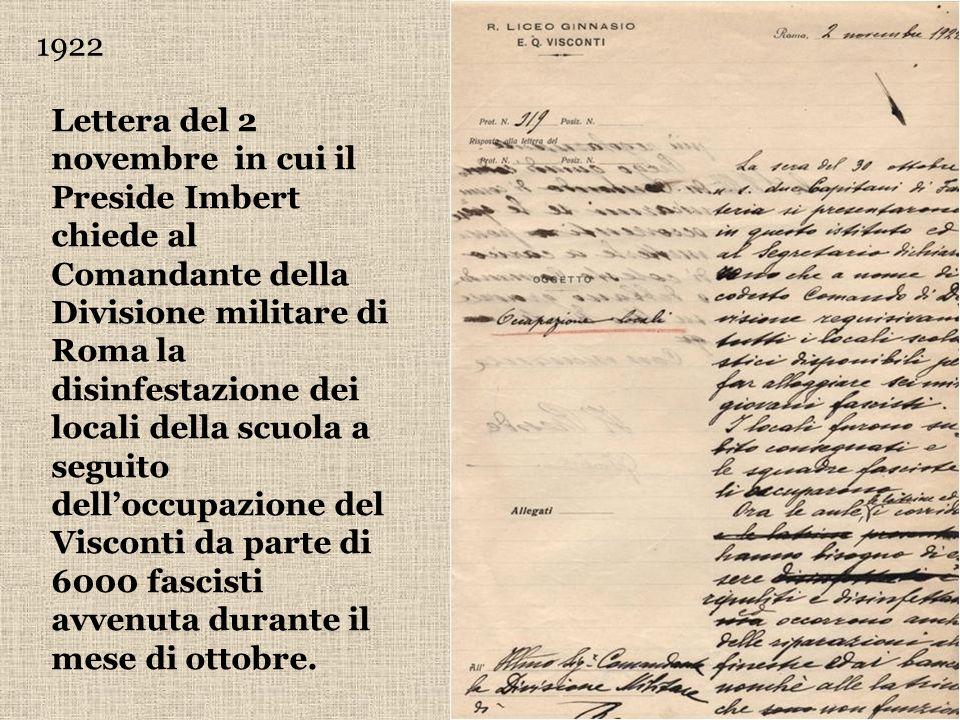 1922 Lettera del 2 novembre in cui il Preside Imbert chiede al Comandante della Divisione militare di Roma la disinfestazione dei locali della scuola