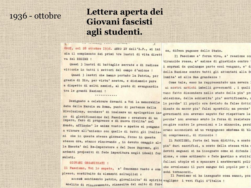 1936 - ottobre Lettera aperta dei Giovani fascisti agli studenti.