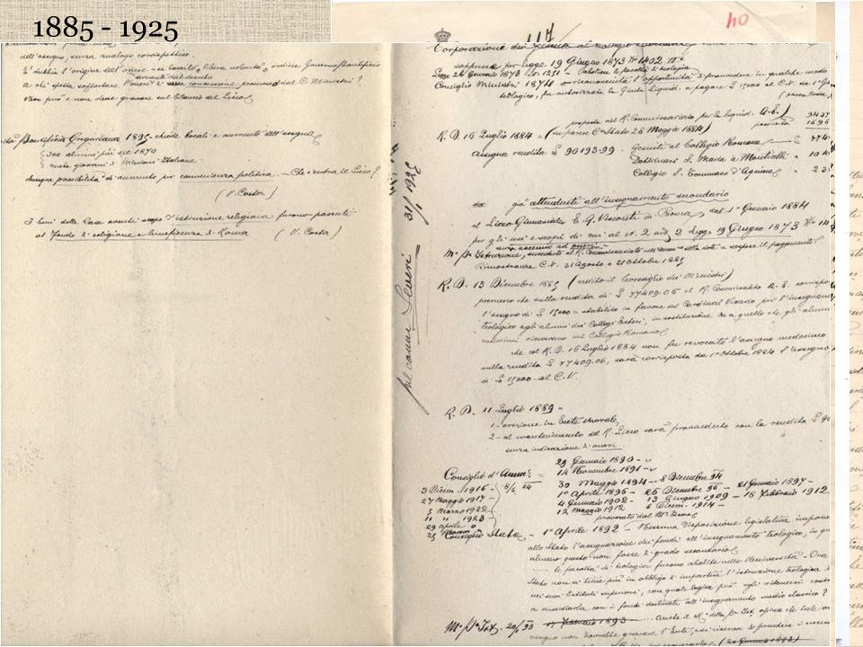 1885 - 1925 Il liceo Visconti è obbligato a versare per legge al Cardinal Vicario una rendita di 15.000 lire annue per compensare la confisca del Coll