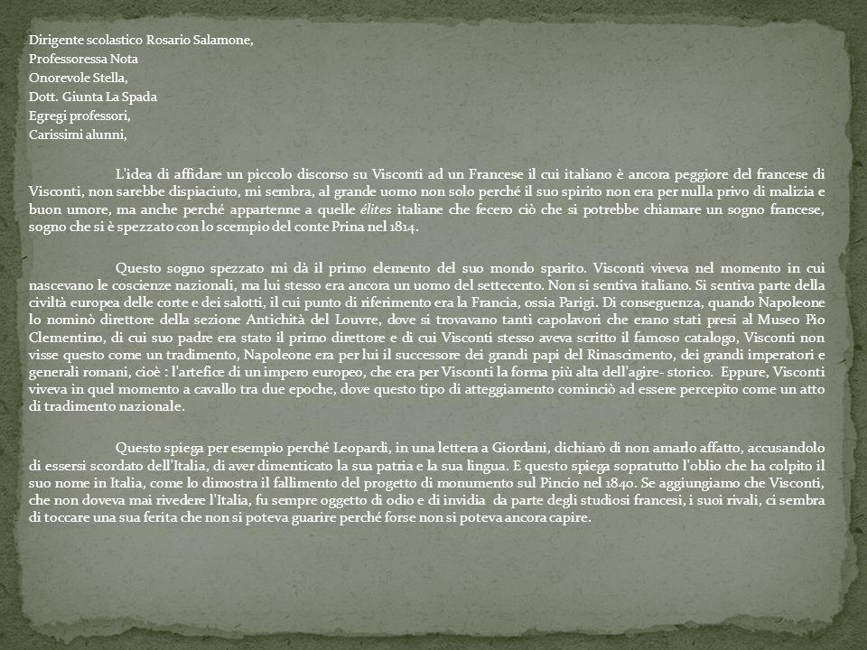 Dirigente scolastico Rosario Salamone, Professoressa Nota Onorevole Stella, Dott. Giunta La Spada Egregi professori, Carissimi alunni, L'idea di affid