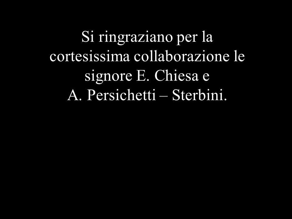 Si ringraziano per la cortesissima collaborazione le signore E. Chiesa e A. Persichetti – Sterbini.