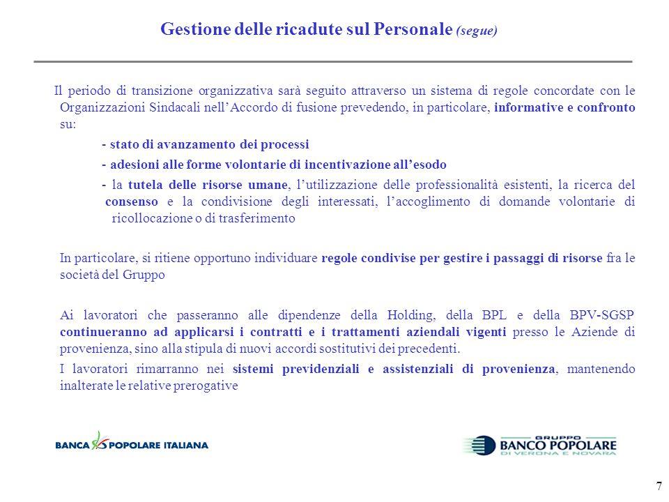 6 Gestione delle ricadute sul Personale *Il mantenimento del rapporto di lavoro con le Banche del territorio per il personale interessato da distacco temporaneo presso la Holding o presso altre Società del Gruppo.