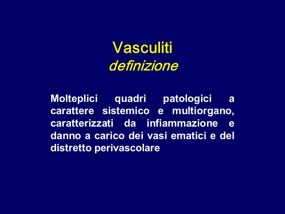 Sindrome di Churg-Strauss: vasculite granulomatosa polmonare Vasculiti dei piccoli vasi
