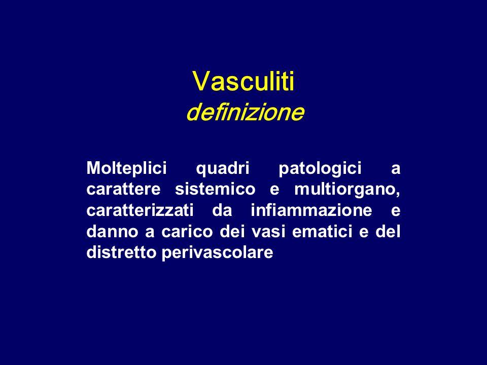 Granulomatosi di Wegener: granulomi con cellule giganti Vasculiti dei piccoli vasi