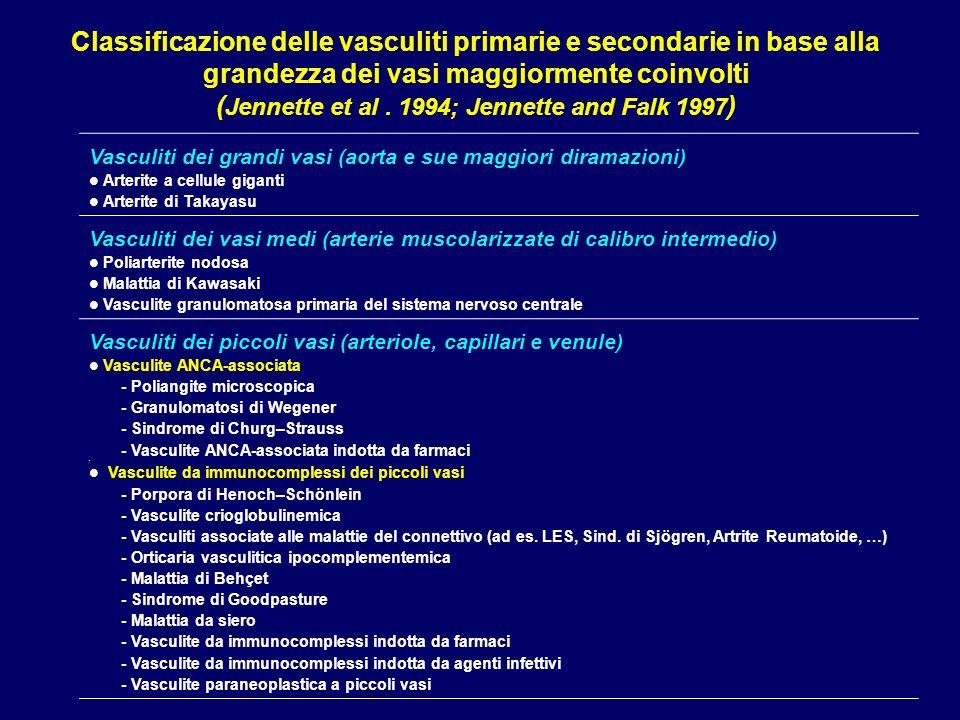 Classificazione delle lesioni della nefrite di Henoch–Schönlein secondo Emancipator (1998) Classe ILesioni glomerulari minime ed assenza di crescents Classe IIAssenza di crescents IIa: proliferazione mesangiale pura IIb: Proliferazione endocapillare focale e segmentale IIc: Proliferazione endocapillare diffusa Classe IIIPresenza di proliferazione cellulare extra-capillari in <50% dei glomeruli IIIa: In associazione con proliferazione endocapillare focale e segmentale IIIb: Con proliferazione endocapillare diffusa Classe IVIntensa proliferazione extra-capillare in 50-75% dei glomeruli IVa: in associazione con proliferazione endocapillare focale e segmentale IVb: con proliferazione endocapillare diffusa Classe VProliferazione extra-capillare in >75% dei glomeruli Va: in associazione con proliferazione endocapillare focale e segmentale Vb: con proliferazione endocapillare diffusa Classe VIGlomerulonefrite pseudo-membranoproliferativa