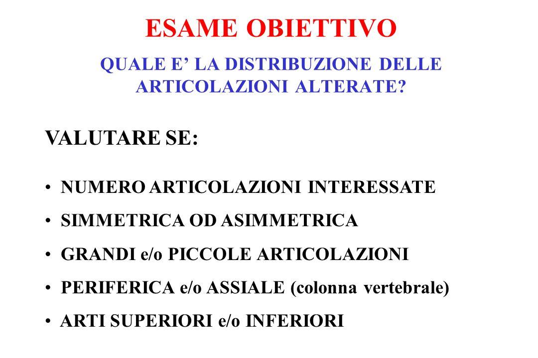 VALUTARE SE: NUMERO ARTICOLAZIONI INTERESSATE SIMMETRICA OD ASIMMETRICA GRANDI e/o PICCOLE ARTICOLAZIONI PERIFERICA e/o ASSIALE (colonna vertebrale) A