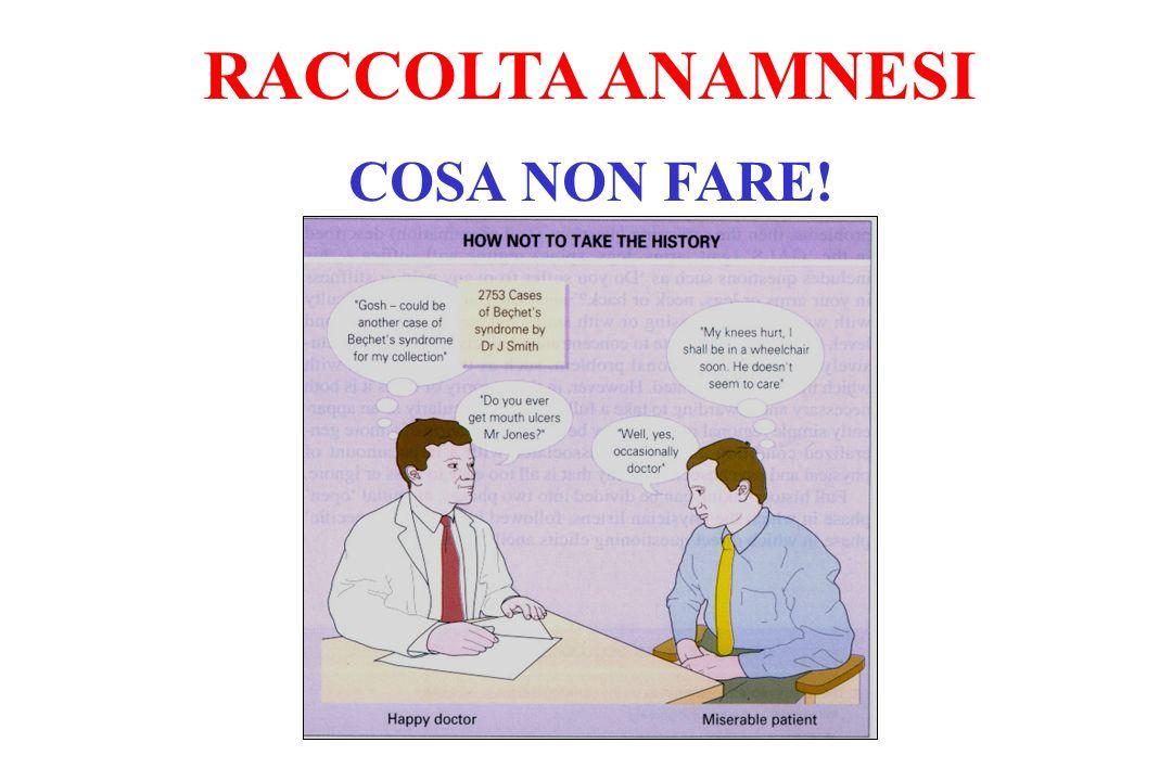 COSA NON FARE! RACCOLTA ANAMNESI