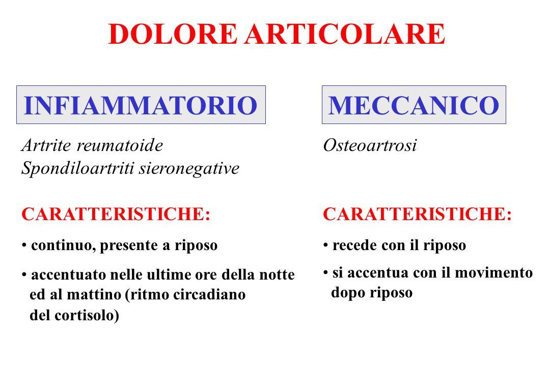INFIAMMATORIOMECCANICO DOLORE ARTICOLARE Artrite reumatoide Spondiloartriti sieronegative CARATTERISTICHE: continuo, presente a riposo accentuato nell