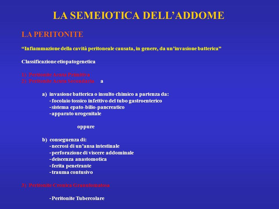 LA PERITONITE Infiammazione della cavità peritoneale causata, in genere, da uninvasione batterica Classificazione etiopatogenetica 1) Peritonite Acuta