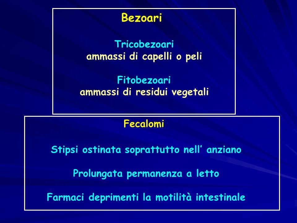 Bezoari Tricobezoari ammassi di capelli o peli Fitobezoari ammassi di residui vegetali Fecalomi Stipsi ostinata soprattutto nell anziano Prolungata pe