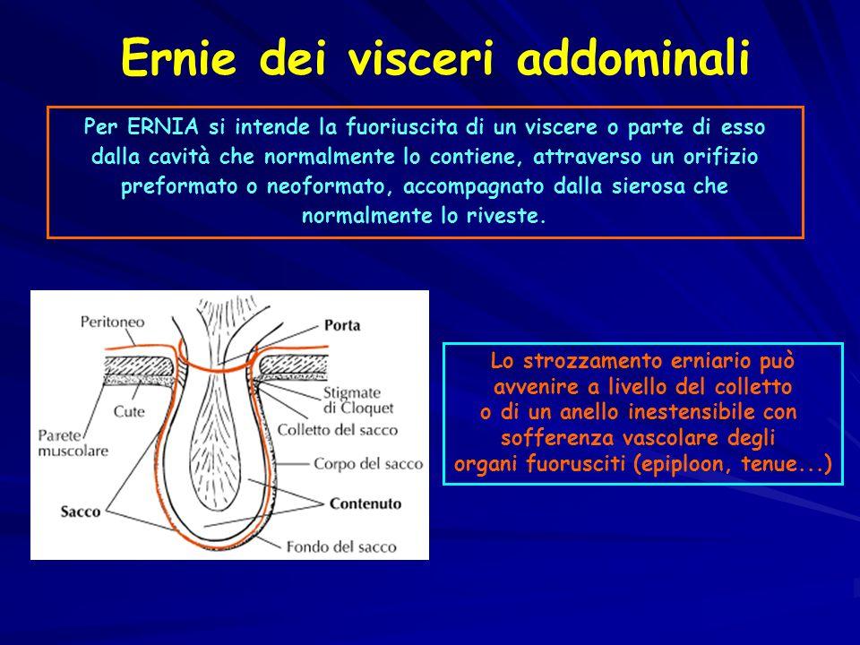 Per ERNIA si intende la fuoriuscita di un viscere o parte di esso dalla cavità che normalmente lo contiene, attraverso un orifizio preformato o neoformato, accompagnato dalla sierosa che normalmente lo riveste.