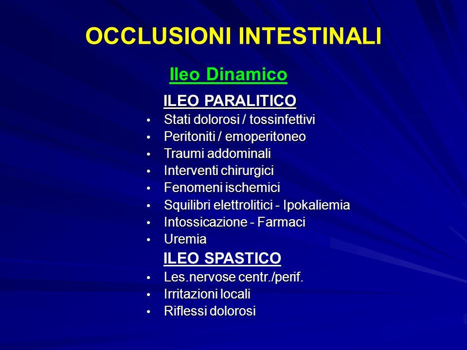 ILEO PARALITICO ILEO PARALITICO Stati dolorosi / tossinfettivi Stati dolorosi / tossinfettivi Peritoniti / emoperitoneo Peritoniti / emoperitoneo Trau