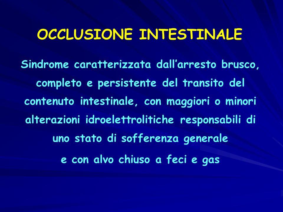 OCCLUSIONE INTESTINALE Sindrome caratterizzata dallarresto brusco, completo e persistente del transito del contenuto intestinale, con maggiori o minor