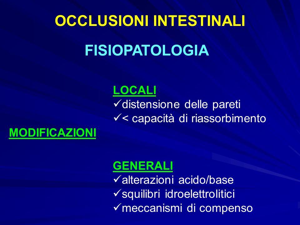 OCCLUSIONI INTESTINALI FISIOPATOLOGIA MODIFICAZIONI LOCALI distensione delle pareti < capacità di riassorbimento GENERALI alterazioni acido/base squilibri idroelettrolitici meccanismi di compenso