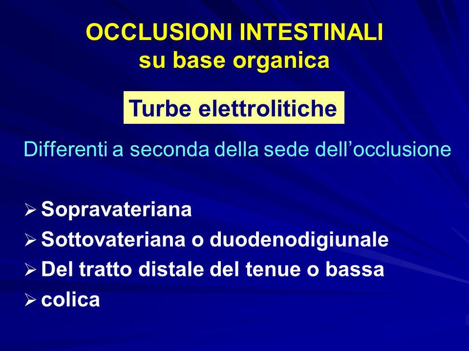 OCCLUSIONI INTESTINALI su base organica Differenti a seconda della sede dellocclusione Sopravateriana Sottovateriana o duodenodigiunale Del tratto dis