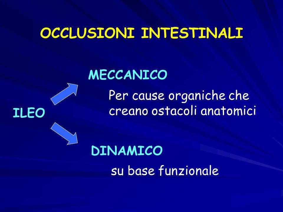 OCCLUSIONI INTESTINALI ILEO MECCANICO DINAMICO Per cause organiche che creano ostacoli anatomici su base funzionale