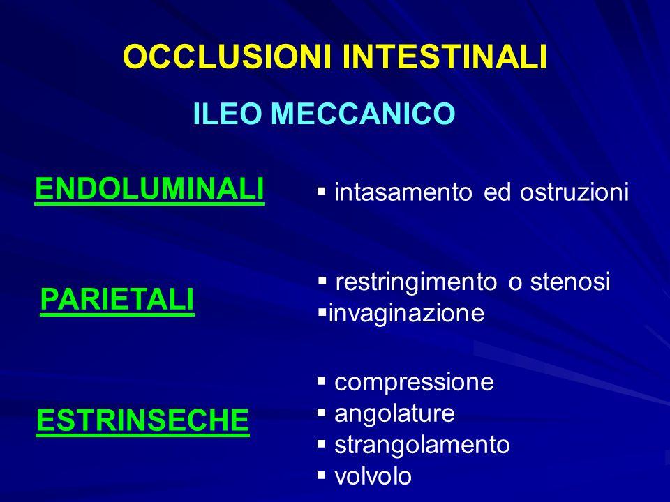 OCCLUSIONI INTESTINALI ILEO MECCANICO ENDOLUMINALI PARIETALI ESTRINSECHE intasamento ed ostruzioni restringimento o stenosi invaginazione compressione