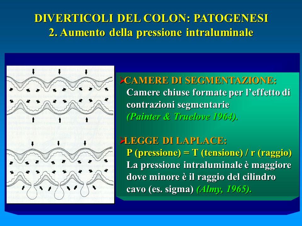 DIVERTICOLI DEL COLON: PATOGENESI 2. Aumento della pressione intraluminale CAMERE DI SEGMENTAZIONE: CAMERE DI SEGMENTAZIONE: Camere chiuse formate per