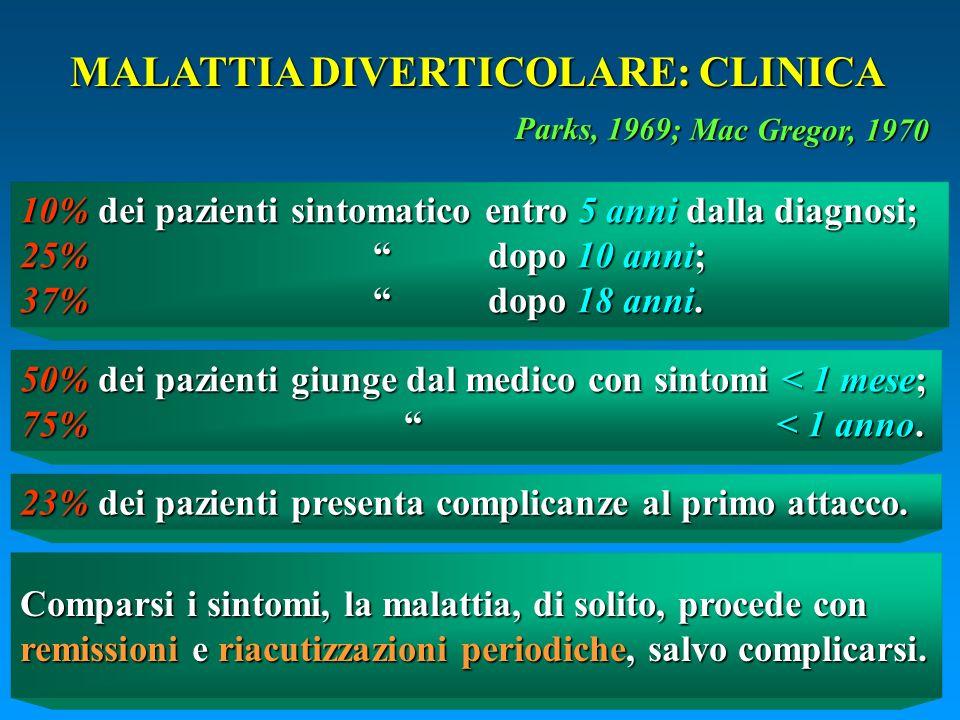 MALATTIA DIVERTICOLARE: CLINICA 10% dei pazienti sintomatico entro 5 anni dalla diagnosi; 25% dopo 10 anni; 37% dopo 18 anni. 50% dei pazienti giunge