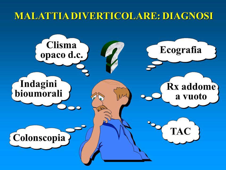 Ecografia Clisma opaco d.c. TAC Rx addome a vuoto Indaginibioumorali Colonscopia MALATTIA DIVERTICOLARE: DIAGNOSI