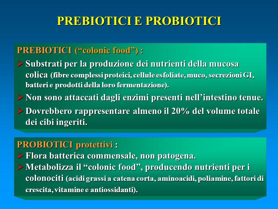 PREBIOTICI (colonic food) : Substrati per la produzione dei nutrienti della mucosa colica (fibre complessi proteici, cellule esfoliate, muco, secrezio