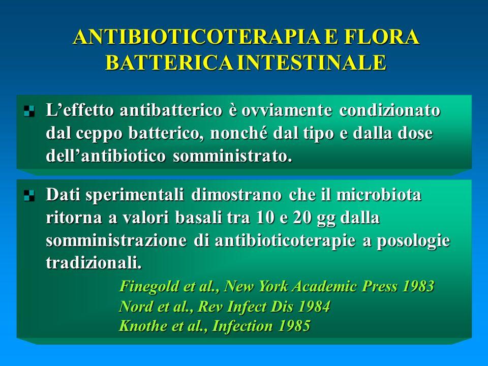 Leffetto antibatterico è ovviamente condizionato dal ceppo batterico, nonché dal tipo e dalla dose dellantibiotico somministrato. ANTIBIOTICOTERAPIA E