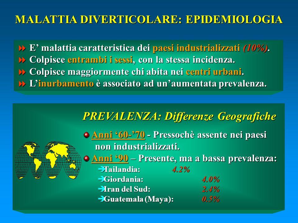 MALATTIA DIVERTICOLARE: EPIDEMIOLOGIA E malattia caratteristica dei paesi industrializzati (10%). E malattia caratteristica dei paesi industrializzati