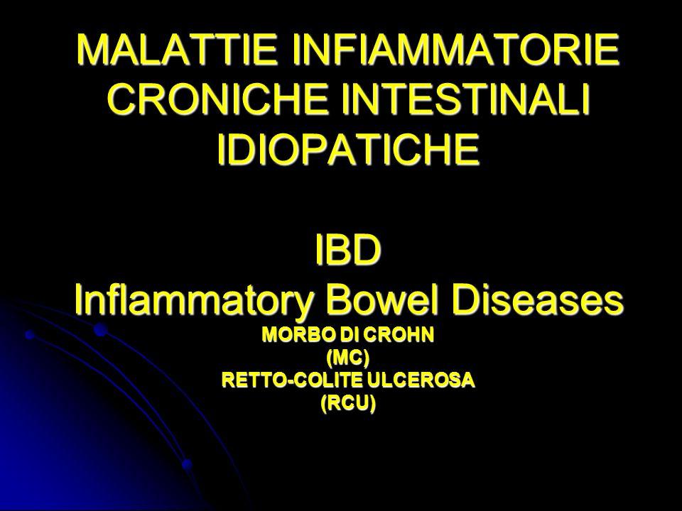 TERAPIA RCU Steroidi Steroidi 5 ASA 5 ASA Immunosoppressori Immunosoppressori Colectomia totale con ileo-ano J pouch Colectomia totale con ileo-ano J pouchMC Steroidi Steroidi Immunosoppressori (azatioprina) Immunosoppressori (azatioprina) Inibitori del TNF-a (infliximab) Inibitori del TNF-a (infliximab) Resezioni Resezioni Stritturoplastiche Stritturoplastiche Trapianto di intestino Trapianto di intestino